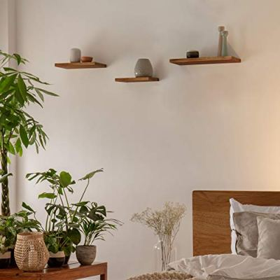 JaWu Wooden Floating Shelves - Set of 3 - Easy to Install, Long, Deep