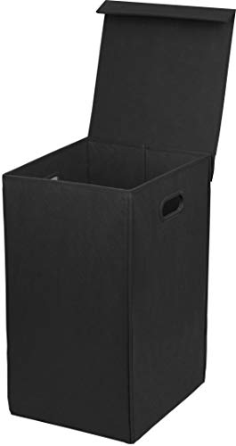 Simple Houseware Foldable Laundry Hamper Basket with Lid, Black