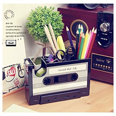 Cassette Tape Dispenser Pen Holder Vase Pencil Pot Stationery Desk Tidy Container