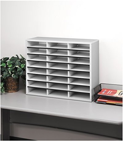 Fellowes Literature Organizer - 24 Compartment, Letter, Dove Gray
