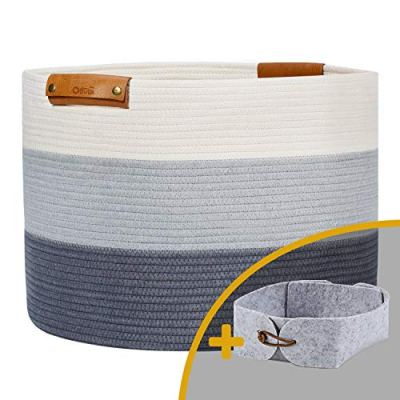 """OLLVIA Extra Large Rope Woven Baskets for Storage with Leather Handles, 20""""x 13.3"""" Cotton Laundry Basket for Blankets Toys, Decorative Floor Basket, Woven Baby Laundry Basket Living Room Grey Basket"""