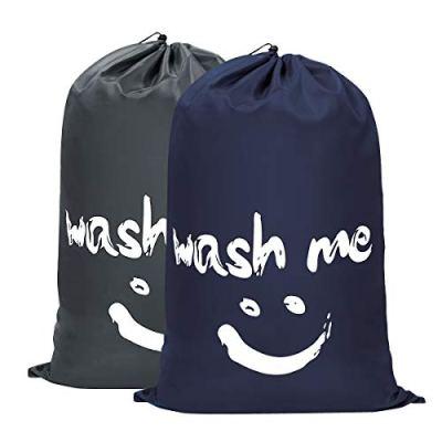 WOWLIVE 2 Pack Extra Large Travel Nylon Laundry Bag Set Storage Sturdy Rip-Stop Machine Washable Locking Drawstring Closure Heavy Duty Bag Hamper Liner(Dark Blue and Grey)