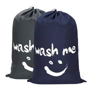 WOWLIVE 2 Pack Extra Large Travel Nylon Laundry Bag Set Storage Sturdy Rip-Stop Machine Washable Locking Drawstring Closure Heavy Duty Bag Hamper Liner(Dark Blue and Grey)