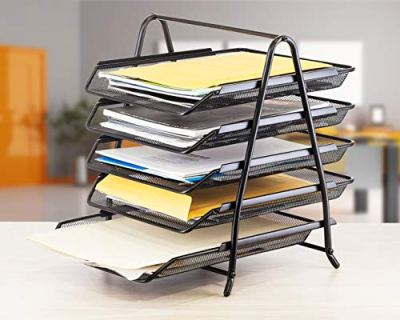 Lightweight 5-Trays Mesh Desk Organizer, Desktop File Holde
