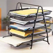 Lightweight 5-Trays Mesh Desk Organizer, Desktop File Holde