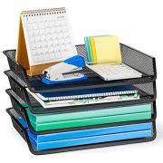 Bextsware Stackable 4-Tier Mesh Desktop Organizer File Folder