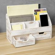 MyGift 7-Compartment Shabby Whitewashed Wood Desktop Office Supplies