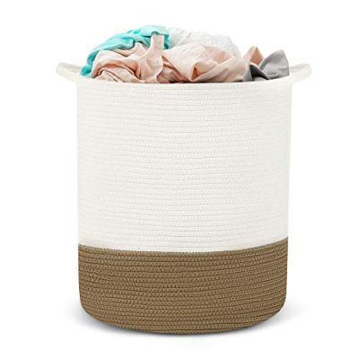 HYNAWIN Cotton Rope Storage Basket Laundry Basket, Tall Decorative Woven