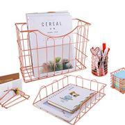 Superbpag Rose Gold Office Supplies 5 in 1 Desk Organizer Set