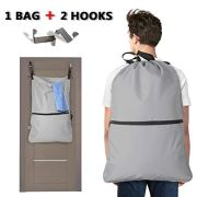 LUXJA Laundry Backpack, Laundry Bag with Extra Stainless Steel Door Hooks and Shoulder Straps, Gray
