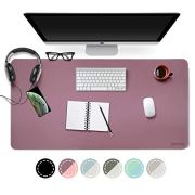 Dual Sided PU Leather Desk Pad, 2019 Upgrade Sewing Edge Office Desk Mat