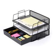 CAXXA 3 Pack Stackable Mesh Tray Desktop Organizer with Adjustable Drawer