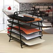 5-Trays Mesh Desk Organizer, Desktop File Holder, Office Supplies Letter Tray