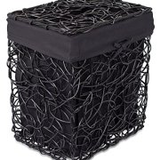 BIRDROCK HOME Decorative Willow Laundry Hamper with Liner - Woven Wooden Laundry Basket - Wicker Reed Frame and Lid - Removable Liner - Dirty Clothes Storage - Black