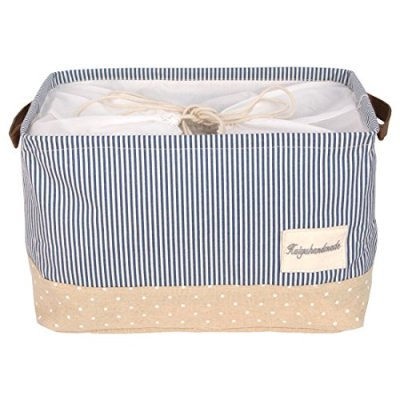 DOKEHOM 15-Inches Large Storage Basket (Available 15 and 17 InchesWidth), Drawstring Square Cotton Linen Collapsible Toy Basket (Navy Blue, M)