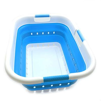 SAMMART Set of 2 Collapsible 3 Handled Plastic Laundry Basket