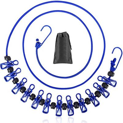 B&Y Travel Clothesline, Portable, Retractable and Adjustable Camping Clothesline, with a Non-Woven Bag, 13 Non-Slip Clips, 12 Clothes Clips, Indoor and Outdoor use (Blue)