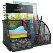 Arteza Mesh Metal Office Desk Organizer with Drawer, 6-Compartment