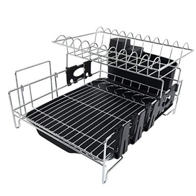 Addmirre Upgraded Stainless Steel 2 Tier Black Soild Plastic Drainers Dish Drying Rack,Large Capacity