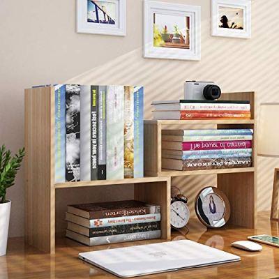 PENGKE Office Storage Rack Desktop Organizer,Home Decor Adjustable Wood