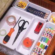 Set of 22 Interlocking Desk Drawer Organizer Tray Dividers Plastic Shallow Narrow