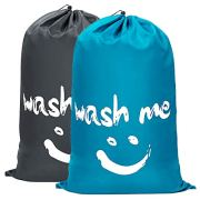 WOWLIVE 2 Pack Extra Large Travel Nylon Laundry Bag Set Storage Sturdy Rip-Stop Machine Washable Locking Drawstring Closure Heavy Duty Bag Hamper Liner (Blue and Grey)
