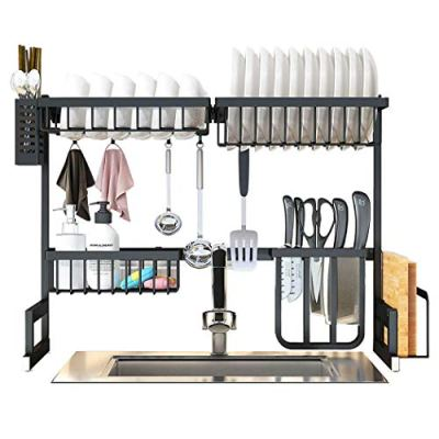 Over the Sink Dish Drying Rack, SKOLOO Large Above Sink Dish Rack with Utensil Racks, Over the Counter Dish Drying Rack, Stainless Steel Paint Dish Rack Over Sink