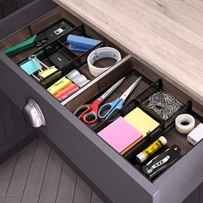 CAXXA Mesh 3 Slot Drawer Organizer with Two Adjustable Dividers