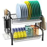 Dish Drying Rack, GSlife 2 Tier 304 Stainless Steel Dish Rack with Utensil Holder, Cutting Board Holder and Dish Drainer for Kitchen Counter, Black