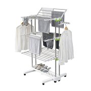 Newerlives BR505 3-tier Collapsible Clothes Drying Rack with Casters, Stainless Steel Hanging Rods, Indoor & Outdoor Use