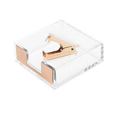 Clear Acrylic Gold Self-Stick Note Cube Holders | Staple Removers Set