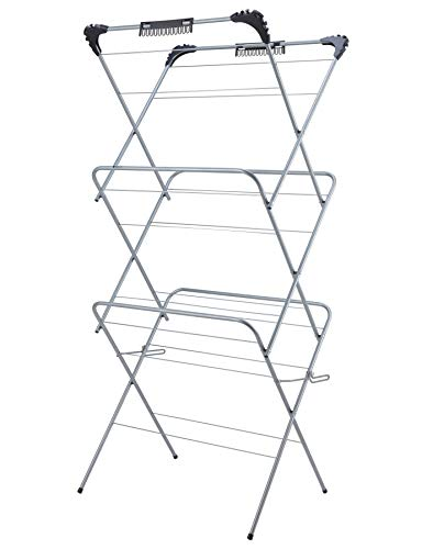 VENETIO Clothes Drying Rack Foldable 3 Tiers, Laundry Racks for Drying Clothes, Special for Baby Clothes Drying Indoor with 24 Socks Dryers