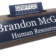 Personalized Business Desk Name Plate with Card Holder - Made in America