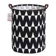 Extra Large Canvas Laundry Hamper Collapsible Storage Bin with Waves Design