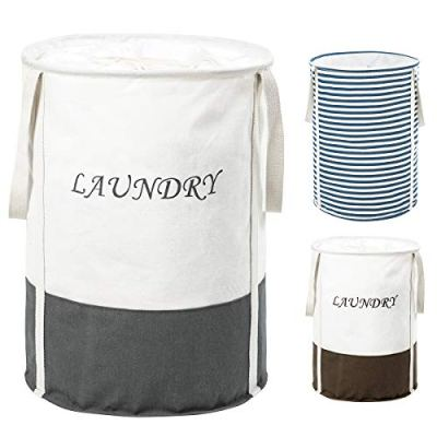 ZERO JET LAG 22 in Collapsible Laundry Hamper with Handles Drawstring Round Cotton Basket Kids Nursery Hamper Storage(Grey)