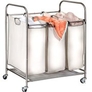 Rolling Laundry Sorter Cart - Durable Metal Frame, Lockable Wheels, Three Heavy Duty Canvas Bags with Handles. The Triple Compartment Laundry Hamper Will Hold up to 3 Loads of Household Laundry.