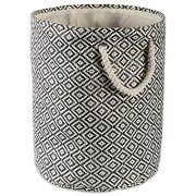 DII Geo Diamond Woven Paper Laundry Hamper or Storage Bin, Small Round, Black