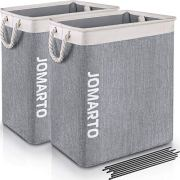 JOMARTO 2 Pack Laundry Basket with Handles for Laundry Hamper Collapsible Linen Hamper Laundry Storage Bin Built-in Lining with Detachable Brackets for Toys Clothing Organization Storage- Gray