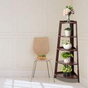 Binrrio Corner Shelf, Industrial Style Corner Storage Rack Plant Stand Wood