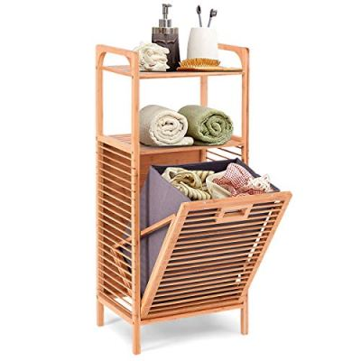 Giantex Bamboo Laundry Hamper Tilt-Out with Shelf & Removable Liner for Bathrooms & Spas Space Saving Storage Laundry Basket 16''x12''x38''(L x W x H)