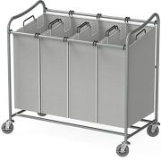 Simple Houseware 4-Bag Heavy Duty Laundry Sorter Rolling Cart, Silver