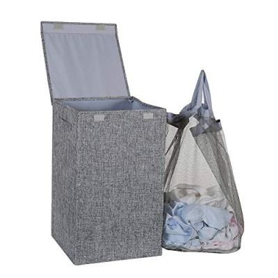 HOSROOME Laundry Hamper with Lid Laundry Basket with Removable Bag