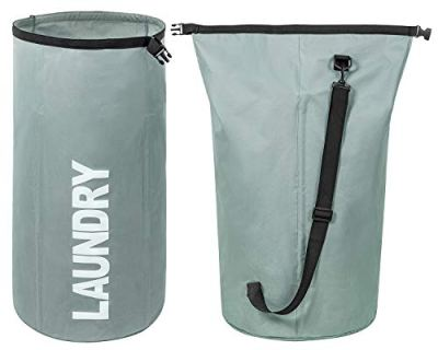 ZERO JET LAG Extra Large Laundry Hamper Collapsible Laundry Basket Tall Clothes Hamper Bag Waterproof Standing Laundry Bin Heavy Duty Laundry Liners (Green Grey)