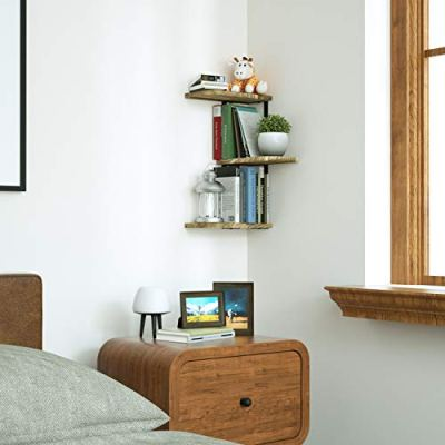Love-KANKEI Corner Shelf Wall Mount of 3 Tier Rustic Wood Floating Shelves