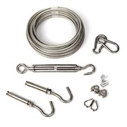 MAGZO Stainless Steel Clothesline Portable Detachable Laundry Wire Vinyl Coated Clothesline Wire Kit with Tightener System Hanging Rope Cable Set for Curtain/Car/Garage/Outdoor/Indoor/Travel (30FT)