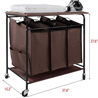 JinaMart Brown Heavy Duty Laundry Sorter with Ironing Board 3 Bag Laundry Hamper Basket with Wheels Storage Cart + 2 Pockets Each