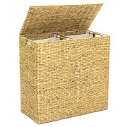 Best Choice Products Extra Large Natural Woven Water Hyacinth Double Laundry Hamper Basket w/ 2 Liner Bags - Natural