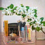 Ogrmar Rose Gold Desk Supplies Organizer, Multi-Functional Mesh Desk Organizer