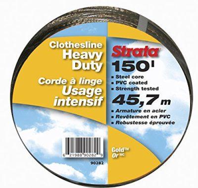 Strata 150' Gold Clothesline - Heavy Duty Steel Core, PVC Coating