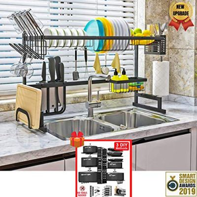 """Topkitch Over The Sink Dish Drying Rack (34.5"""") black (New Upgrade)"""
